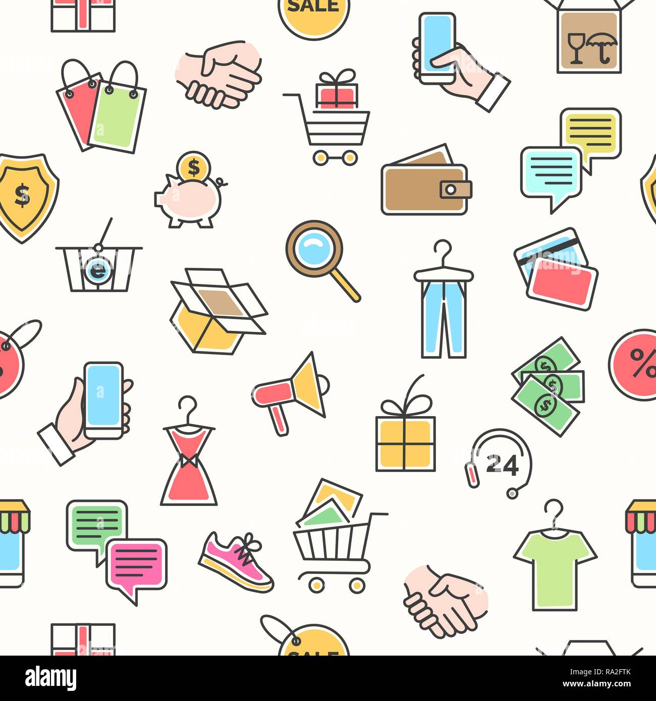 0024d4be68 Online retail pattern. Web shopping business icons square seamless  background for e-commerce sale decoration, vector illustration
