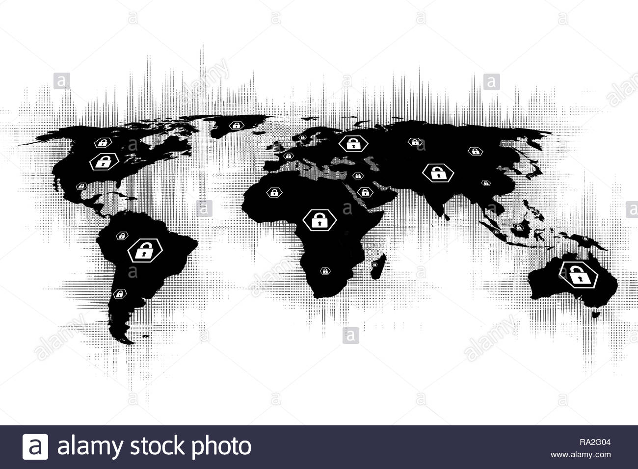 Image of a world map with futuristic texture and icons of padlocks on the continents. World map with padlock vectors, secure internet or virtual secur - Stock Image