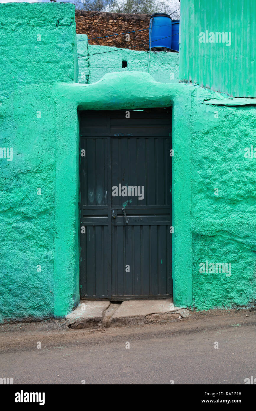 An entrance to a house in Harar, Ethiopia. - Stock Image