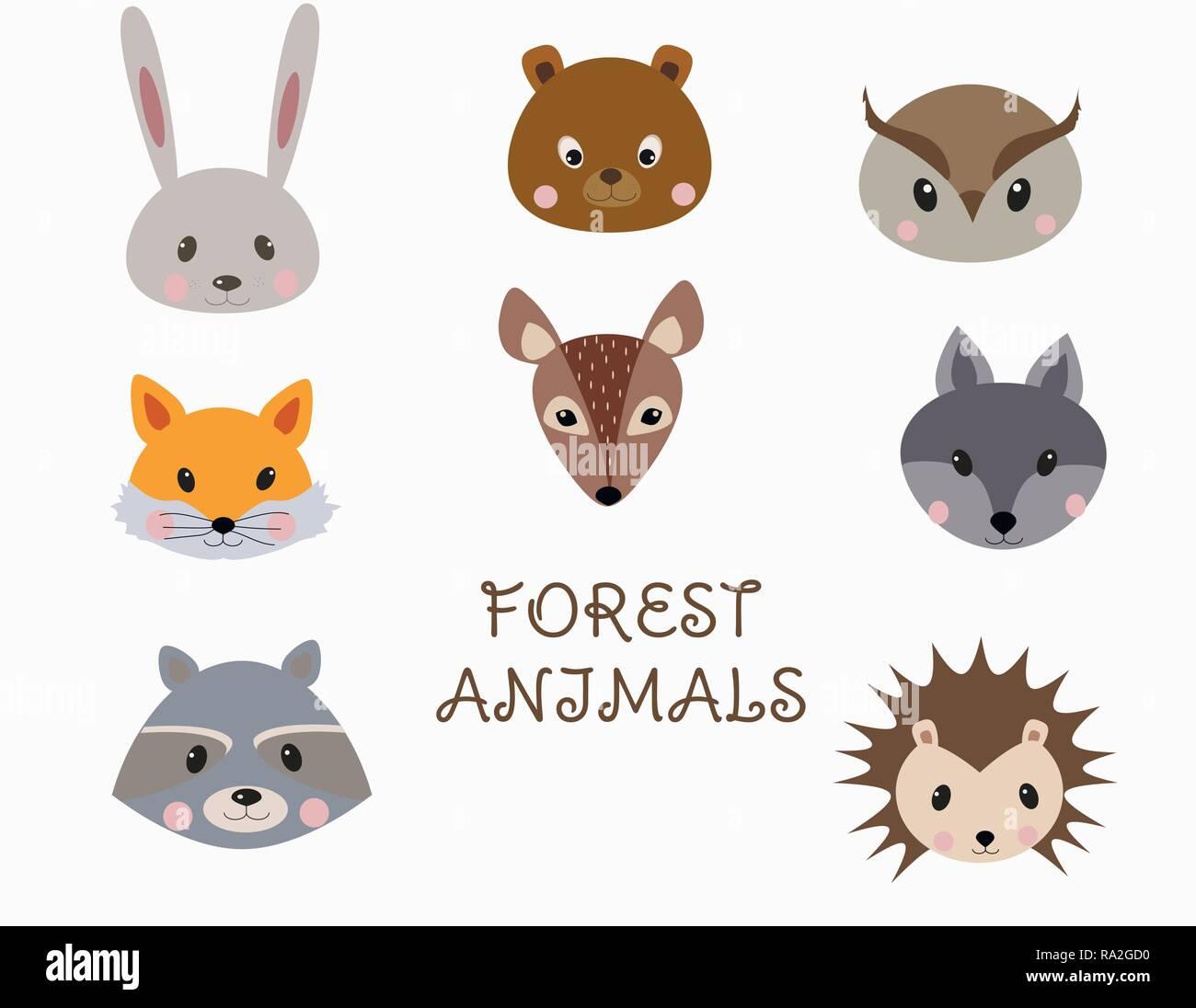 Set of forest animals faces. Woodland cartoon animals rabbit, raccoon, fox, bear, wolf, hedgehog, deer, owl. Vector Stock Vector