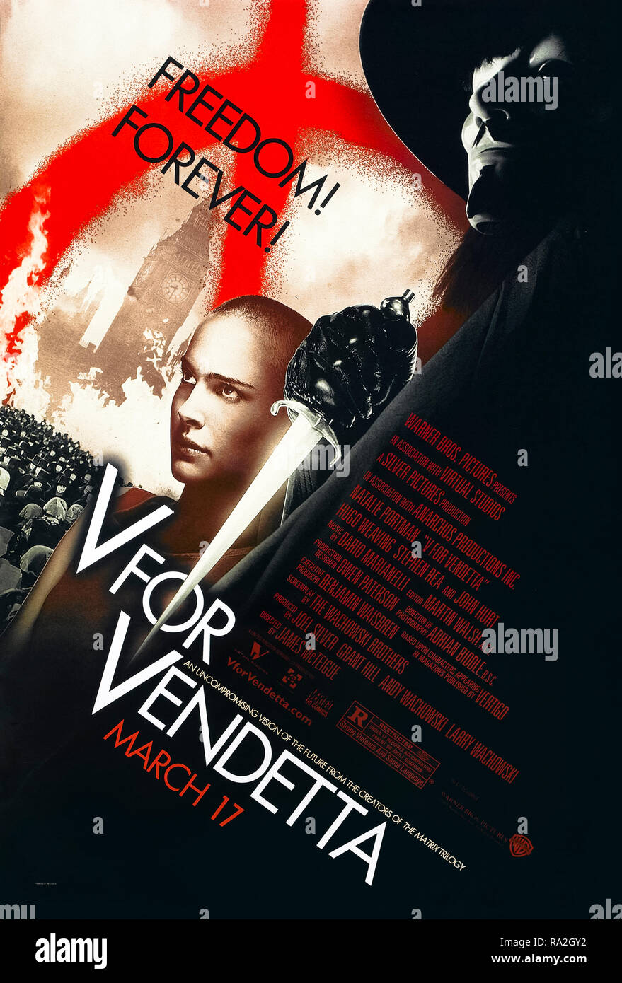 V for Vendetta (2005) directed by James McTeigue and starring Hugo Weaving, Natalie Portman, Rupert Graves and John Hurt. The Wachowski Brothers big screen adaptation of Alan Moore and David Lloyd's dystopian political comic books about an alternative future where a neo-fascist government rules over the United Kingdom. - Stock Image