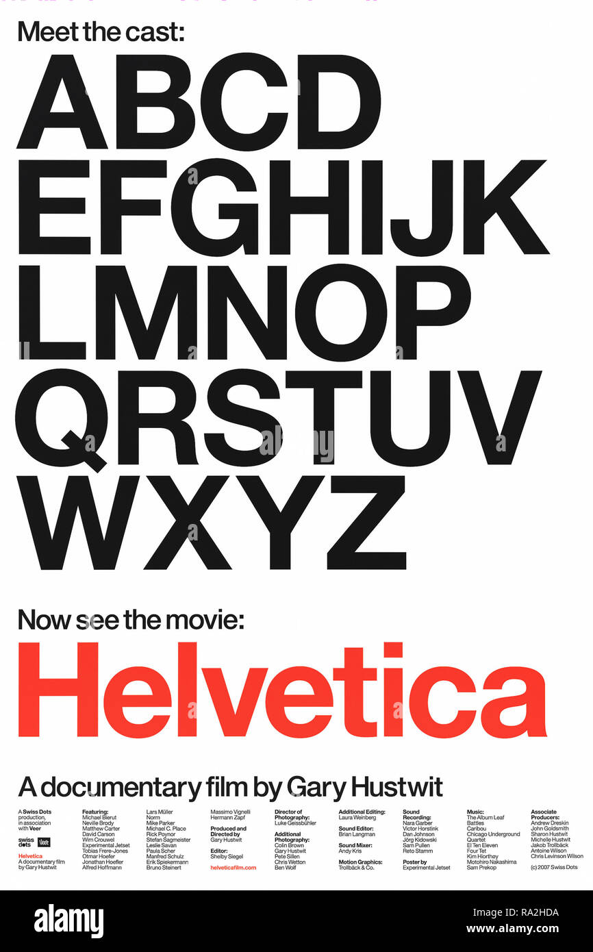 Helvetica (2007) directed by Gary Hustwit and starring Manfred Schulz, Massimo Vignelli, Rick Poynor and Wim Crouwel. Documentary film about the ubiquitous sans-serif typeface; released to coincide with the 50th anniversary of its introduction in 1957. - Stock Image