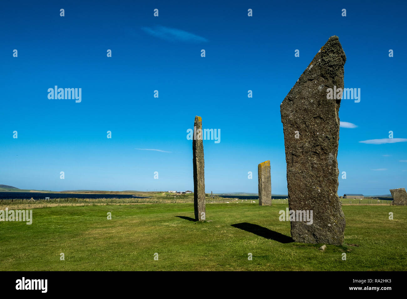 The Standing Stones of Stenness, a Neolithic monument and part of the Orkney Neolithic World Heritage Site in Scotland - Stock Image