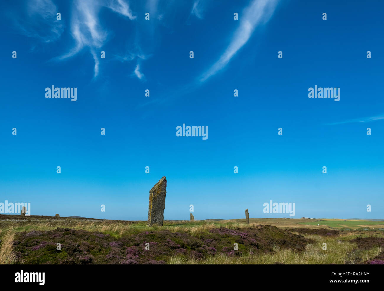 The Ring of Brodgar, a Neolithic monument and part of the Orkney Neolithic World Heritage Site in the Orkney Islands of Scotland - Stock Image
