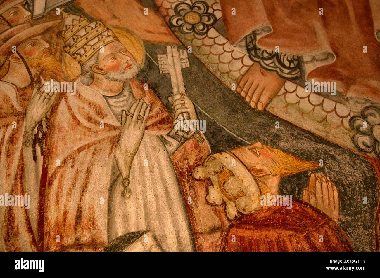 A middle ages Fresco on the wall of Briandate church (Novara, northern Italy) - Stock Image