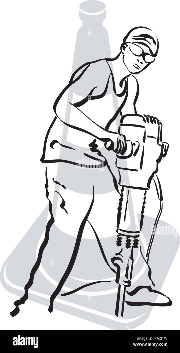 illustration of a road worker who is using a jackhammer on a road surface - Stock Vector