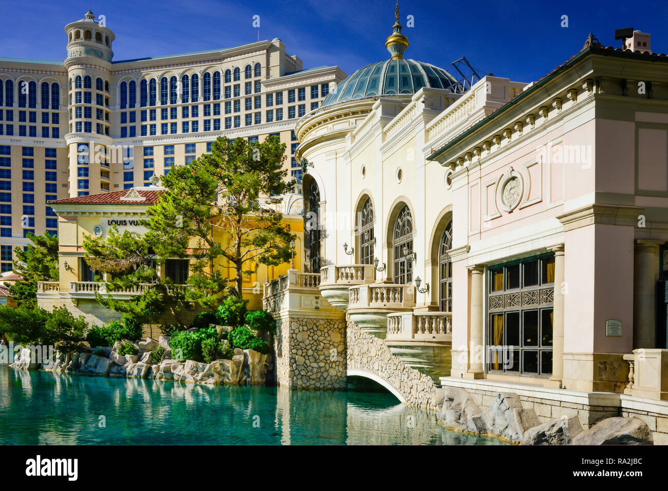 The Bellagio Casino and Hotel in the background with the Beautiful architectural details of the Forum Shops mall complex in Las Vegas, NV Stock Photo