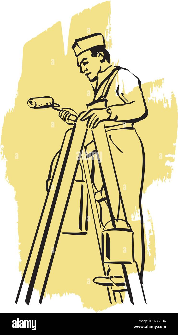Illustration of an house painter at work - Stock Vector