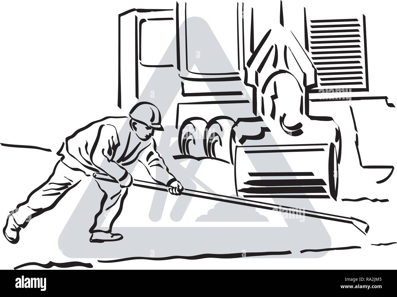A vector illustration of an asphalt worker at work. - Stock Vector