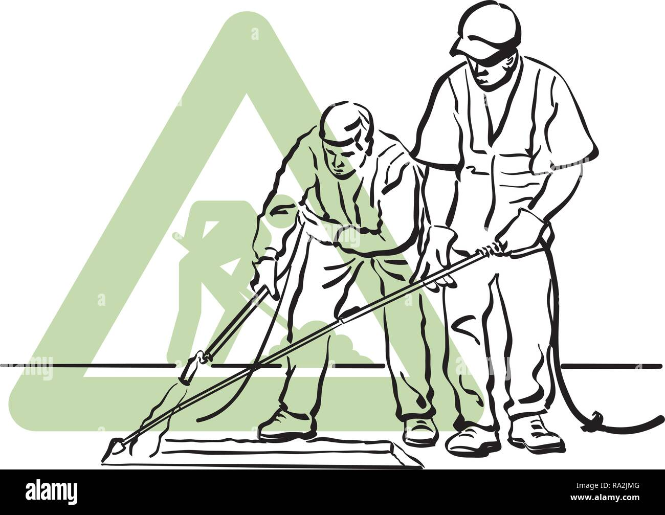 A pair of asphalt workers leveling the freshly laid asphalt. - Stock Vector