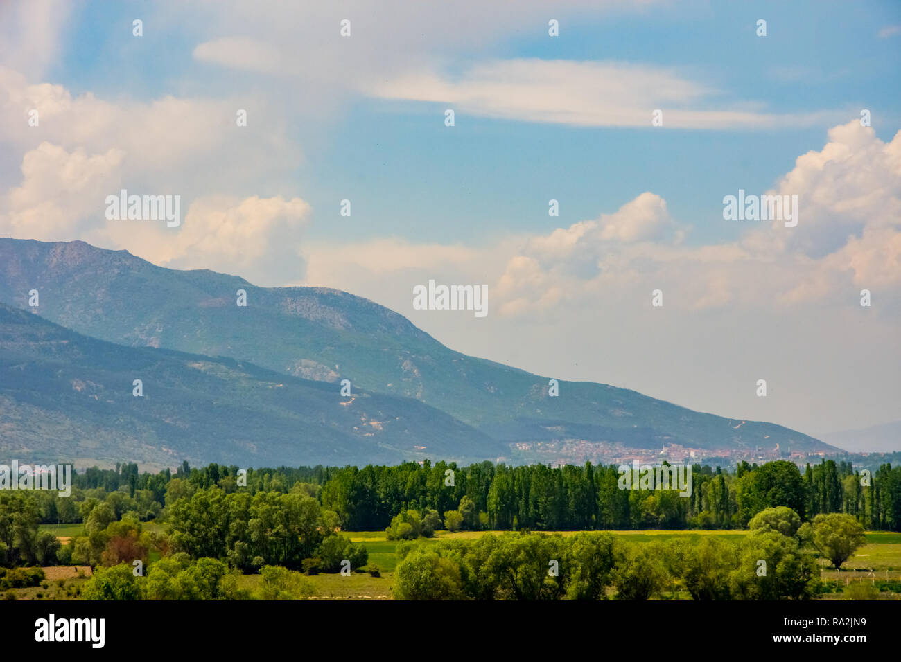 Beautiful green landscape from the coast of Eber lake in Afyon province - Stock Image