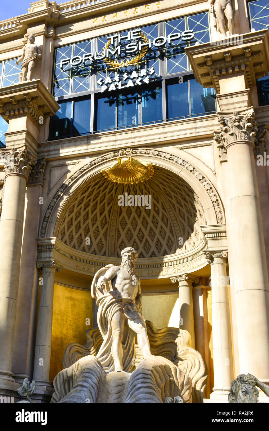 Opulent facade of marble columns with Roman and mythological characters enchant tourists to the upscale Forum Shops at Caesars Palace, Las Vegas, NV Stock Photo