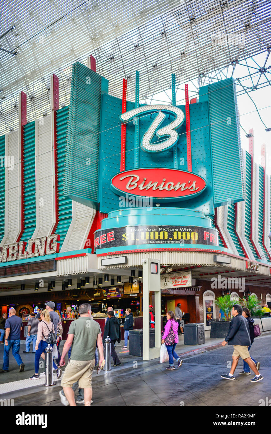 Entrance to the world famous Binion's Gambling Hall and Hotel, a vintage casino located at the Fremont Street Experience in downtown Las Vegas, NV Stock Photo