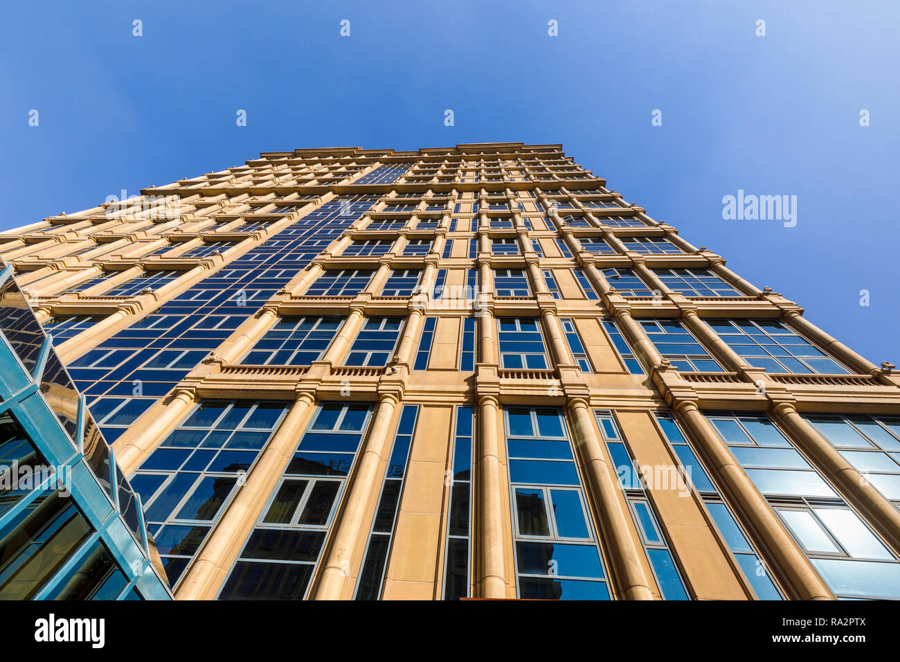 View looking up of the modern architecture exterior of the luxurious 5 star Cairo At The First Residence Four Seasons Hotel, Giza, Cairo, Egypt Stock Photo