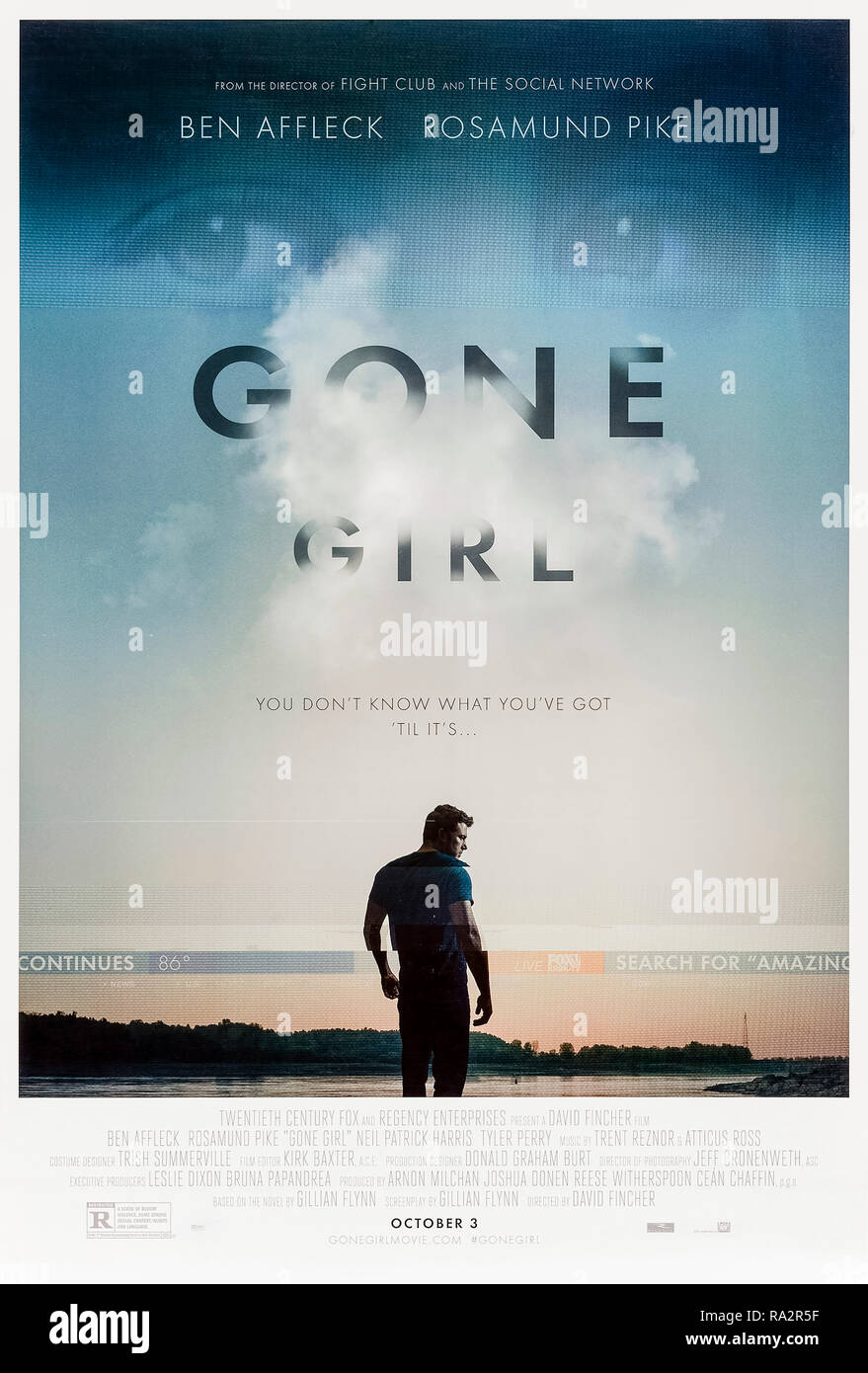 Gone Girl (2014) directed by David Fincher and starring Ben Affleck, Rosamund Pike, Neil Patrick Harris and Tyler Perry. Film version of Gillian Flynn's bestselling novel about a missing wife and a suspicious husband. - Stock Image