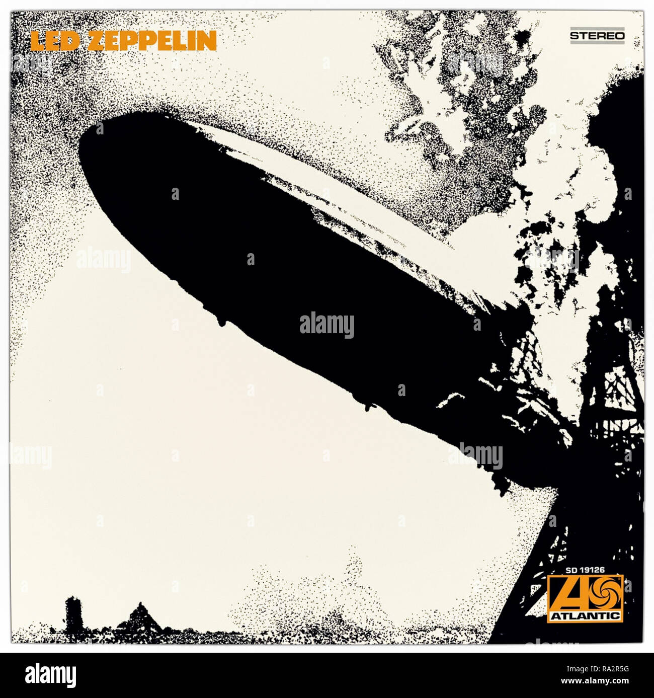 Led Zepplin (1969) by Led Zepplin LP front cover featuring a stylised photograph of the LZ 129 Hindenburg airship catching fire by its mooring dock. - Stock Image