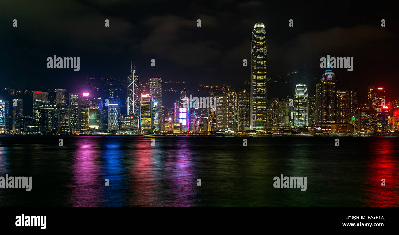 Hong Kong Island skyline at night - Stock Image