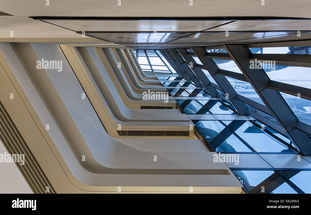 Interior of the Jockey Club Innovation Tower at Hong Kong Polytechnic University Stock Photo