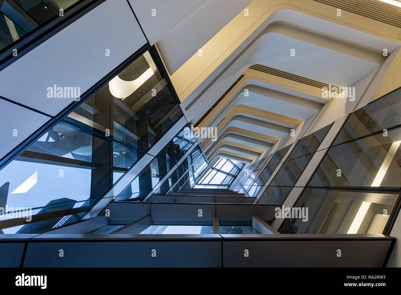 Interior of the Jockey Club Innovation Tower at Hong Kong Polytechnic University Stock Photo