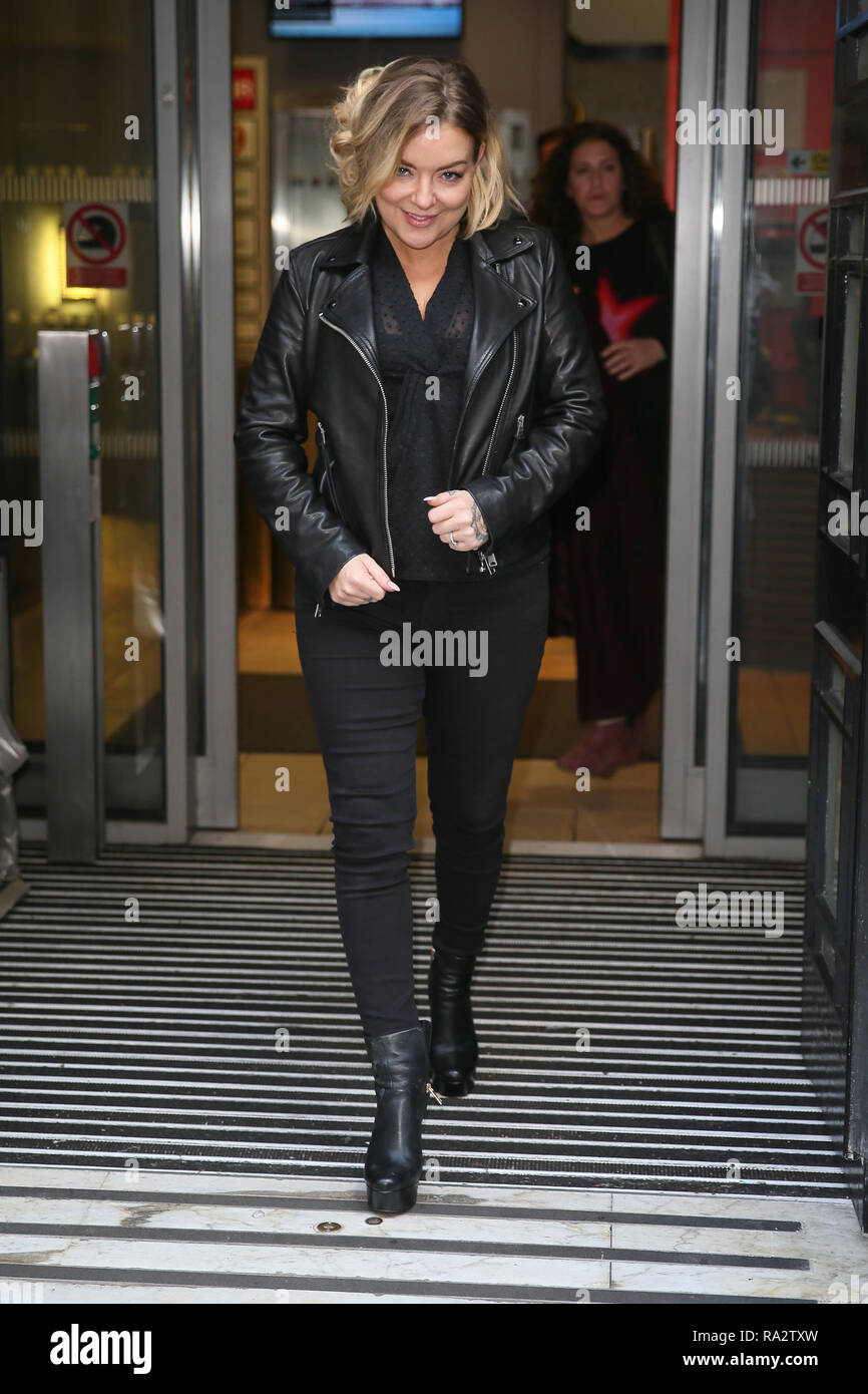 Sheridan Smith leaving BBC Radio Two Studios after promoting