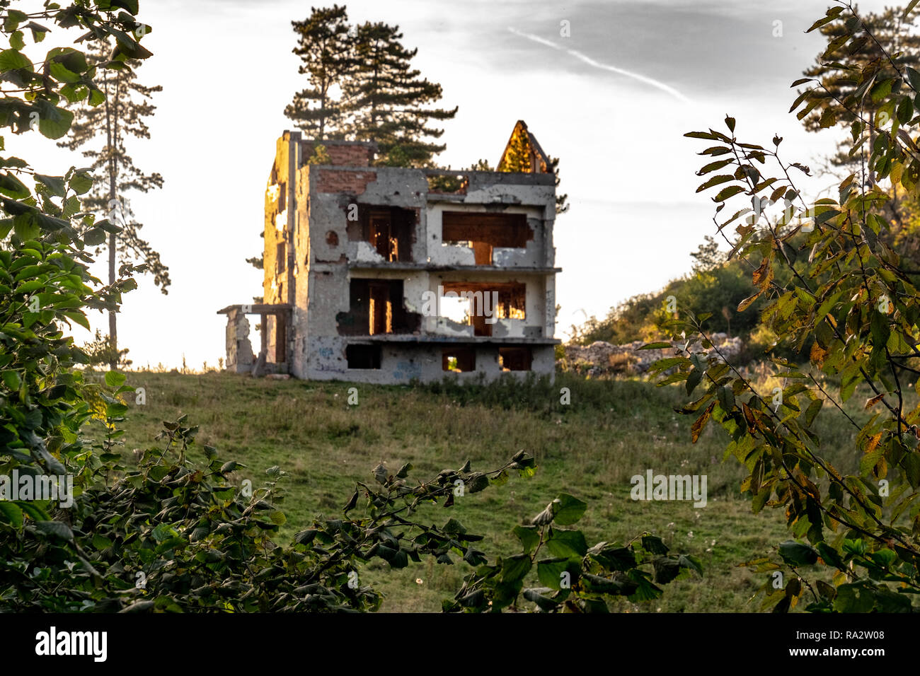 A ruined house in the hills near Sarajevo, Bosnia and Herzegovina Stock Photo