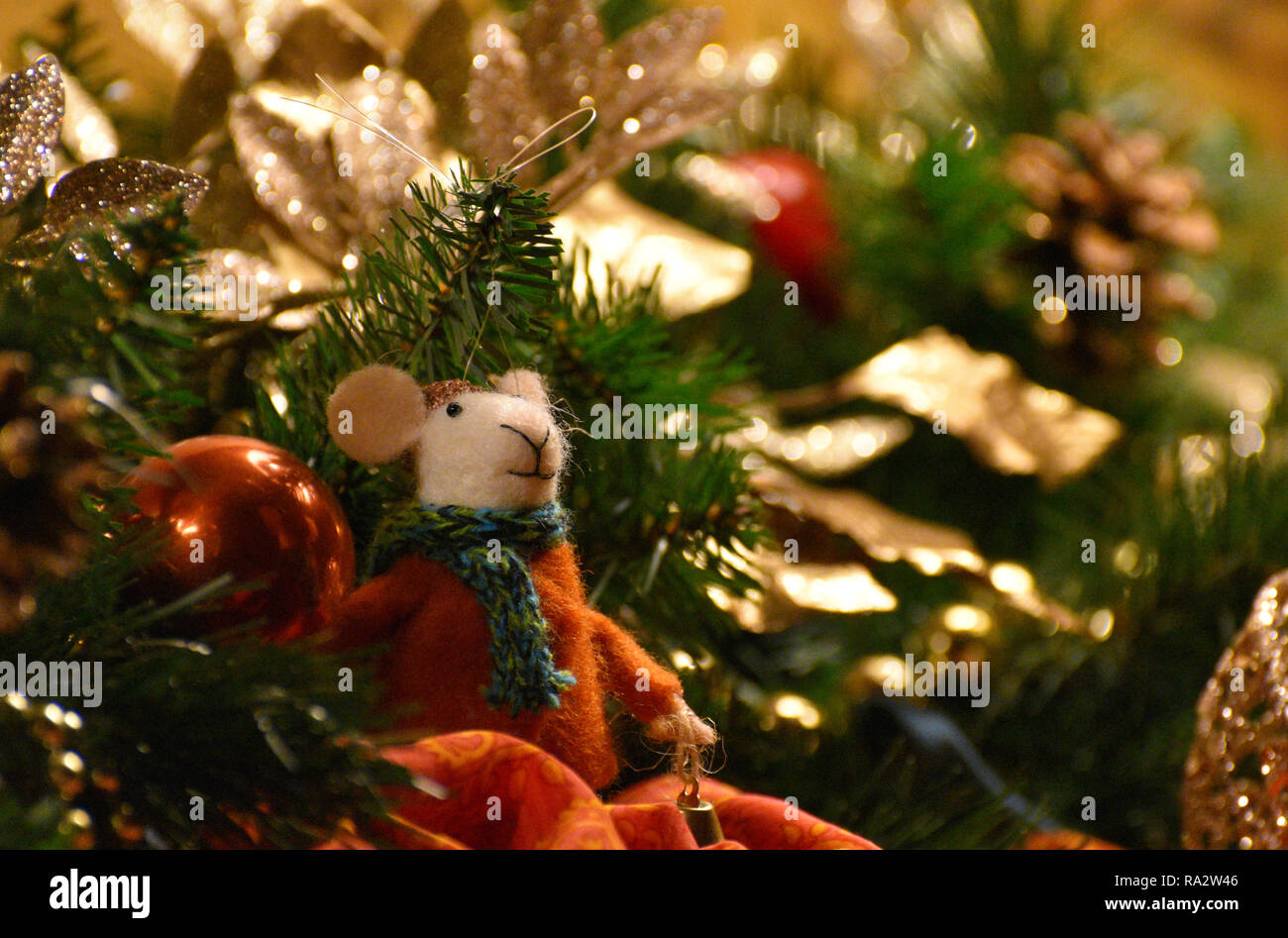 Mouse Christmas Ornament / Decoration - Stock Image