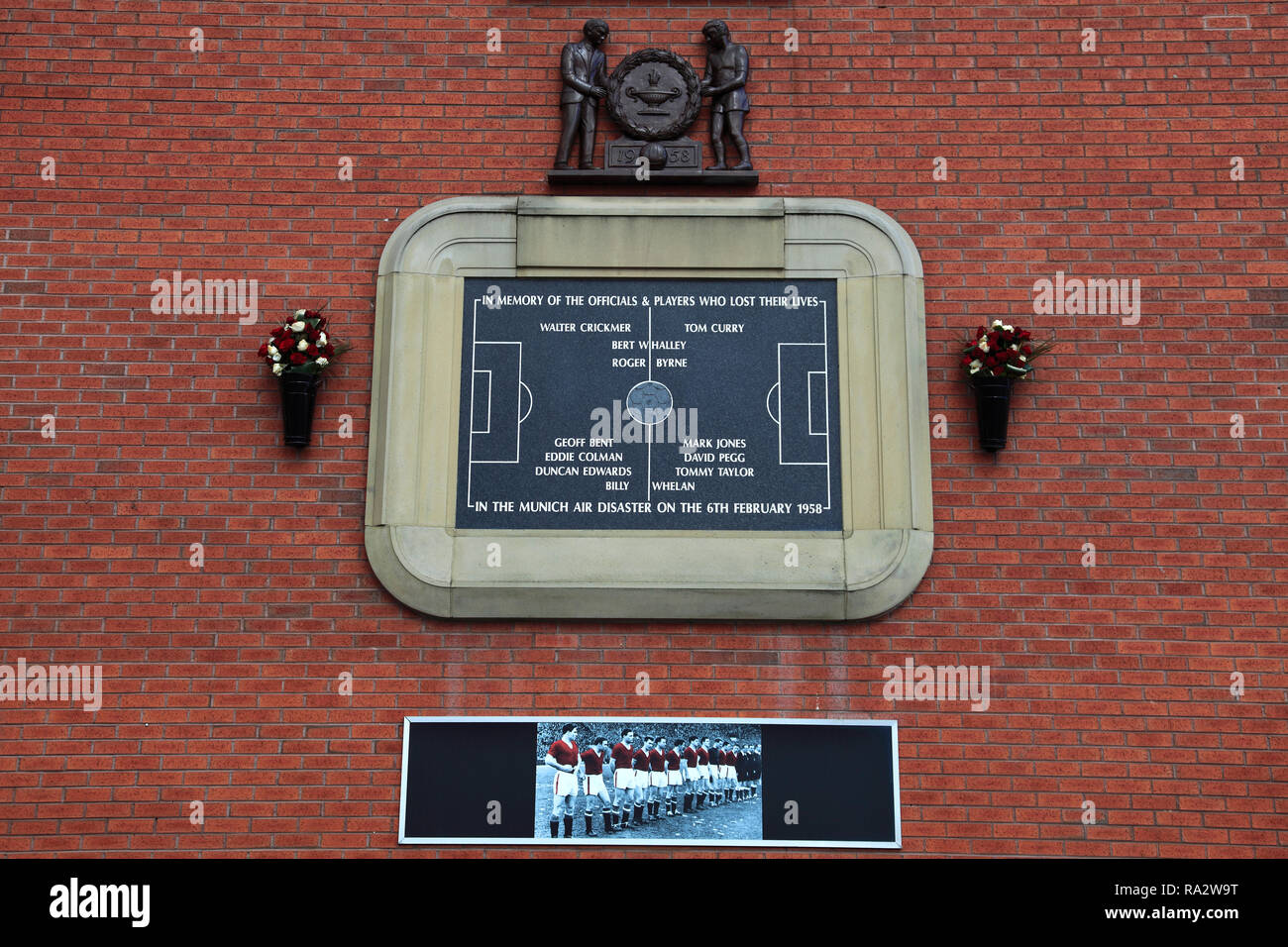 Munich air disaster memorial, Manchester United's Old Trafford ground, Manchester, England, UK - Stock Image