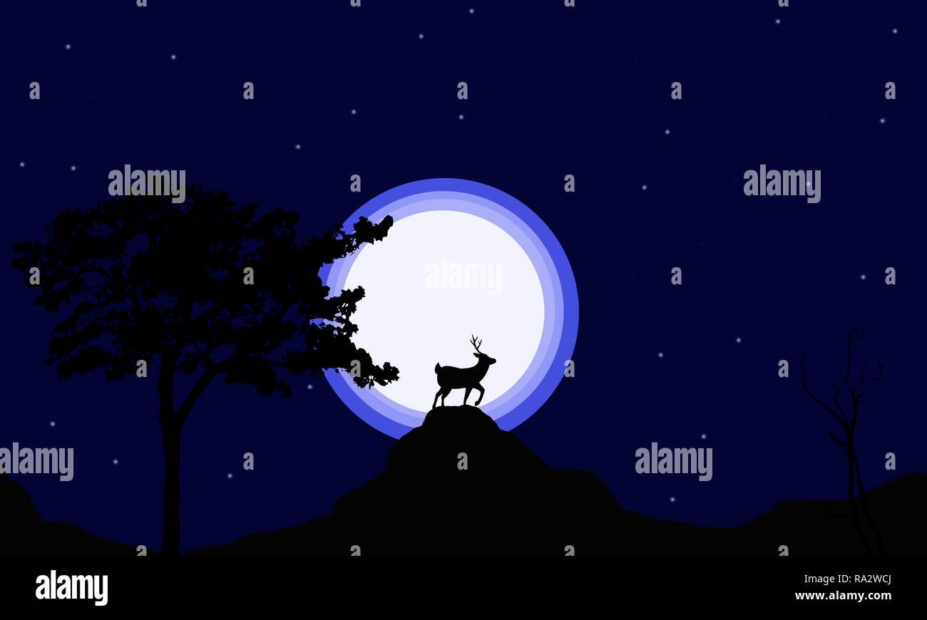African jungle with its animals with Scenic backdrop.Deer landscape jungle silhouette vector art.Deer grunting at hilltop on blue gradient background. - Stock Image
