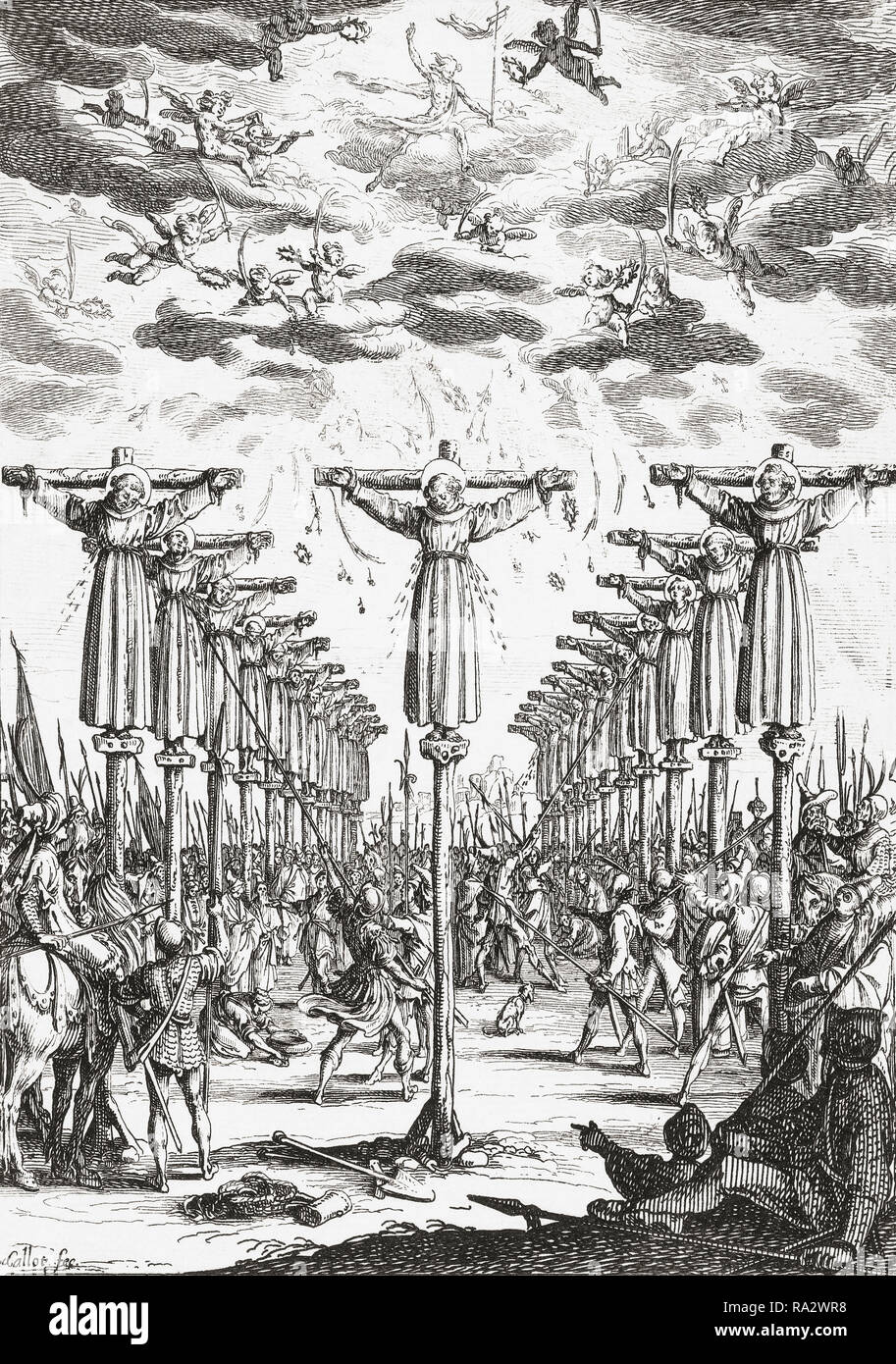 16th century Christian martyrs in Japan.  The engraving by French artist Jacques Callot, 1592-1635, which is dated 1627, may refer to either of two episodes of martyrdom in Nagasaki, Japan where, in 1597, 26 Christians were executed or in 1632, when 55 Christians were killed in what is known as the Great Genna Martyrdom. - Stock Image