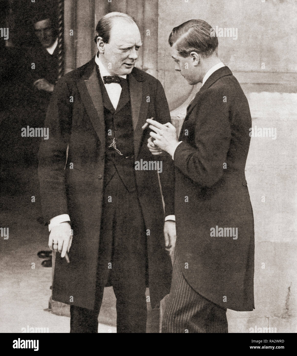 Winston Churchill, seen here in 1919 with the Prince of Wales, future Edward VIII.  Sir Winston Leonard Spencer-Churchill, 1874 –1965. British politician, statesman, army officer, and writer, who was Prime Minister of the United Kingdom from 1940 to 1945 and again from 1951 to 1955. - Stock Image