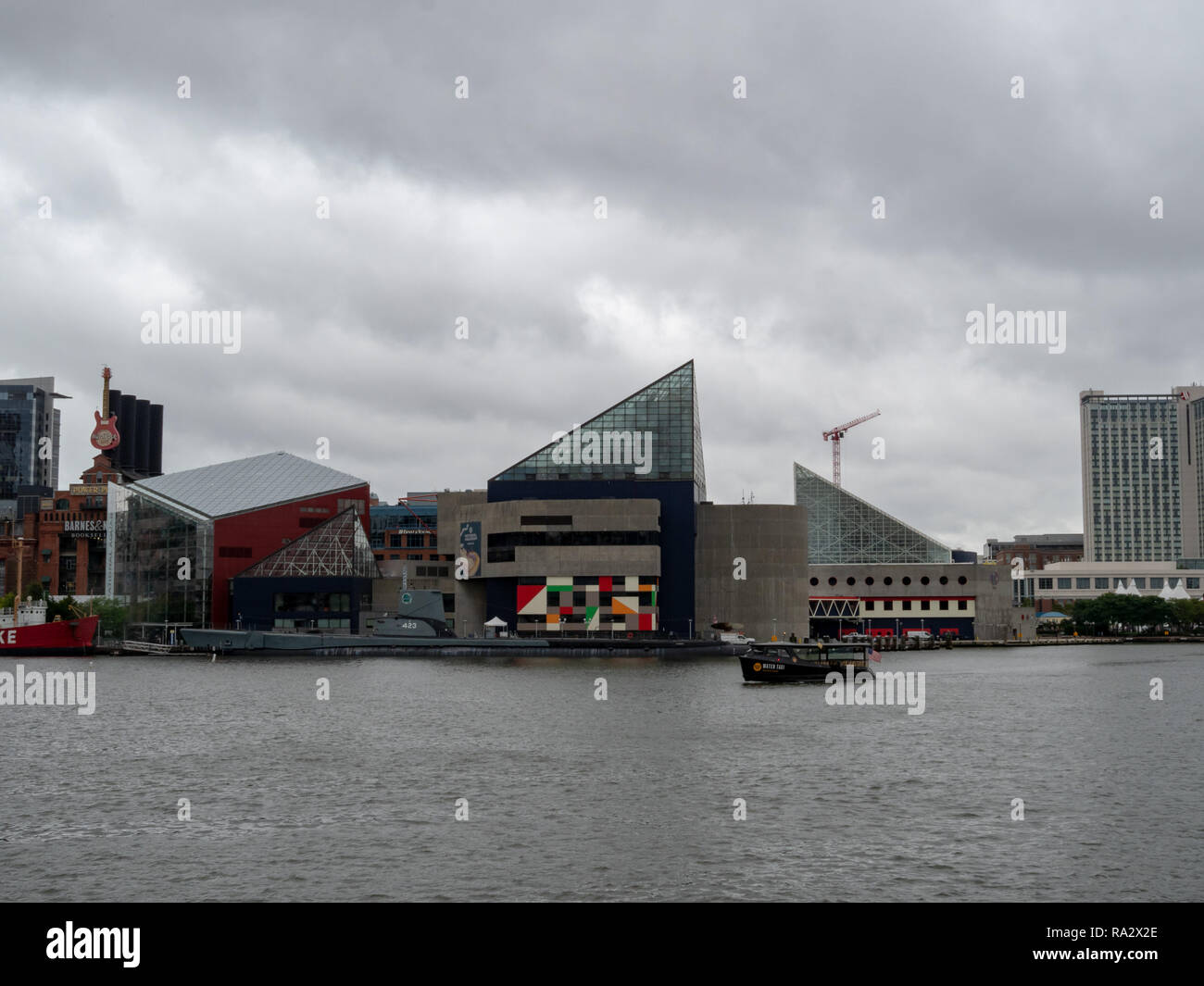 National Aquarium building along Baltimore Inner Harbor Chesapeake Bay - Stock Image