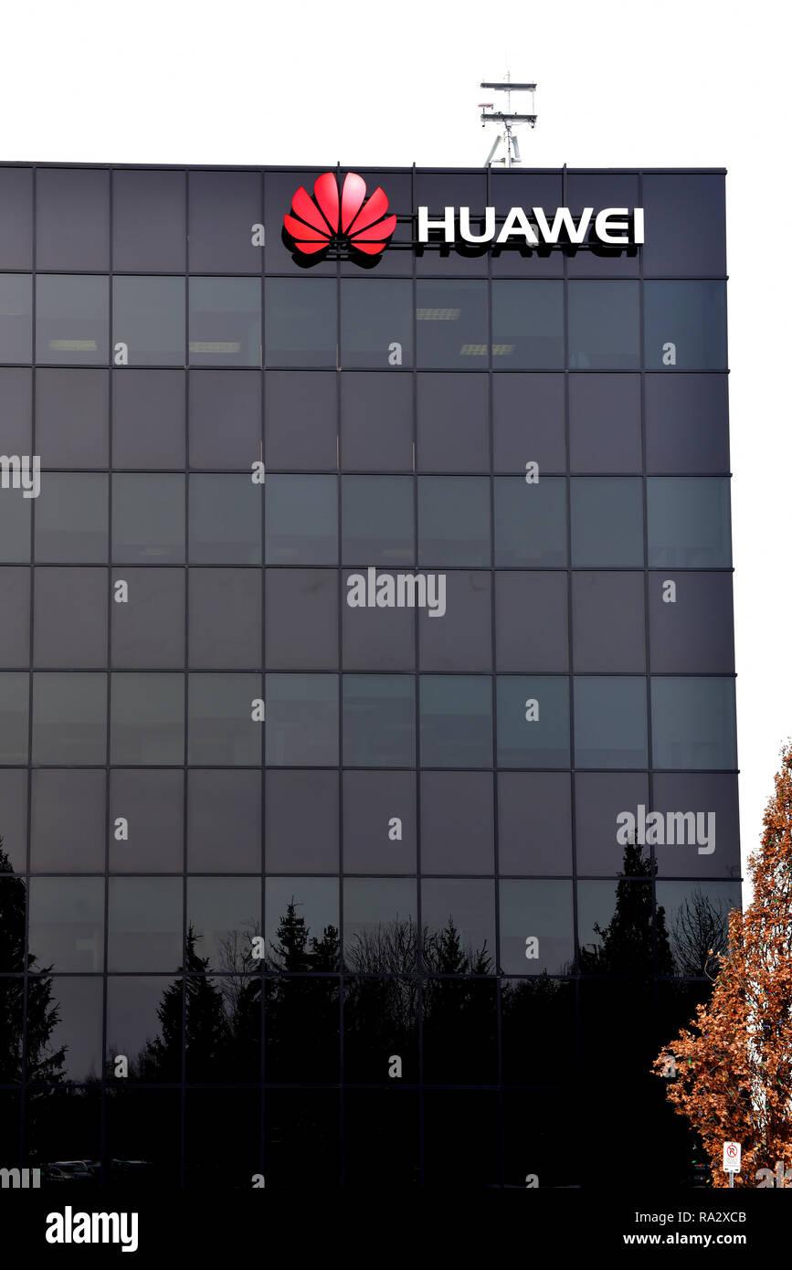 Kanata, Canada - December 31, 2018: Huawei Ottawa Research & Development Centre on Terry Fox Road. The Chinese multinational telecommunications equipm - Stock Image