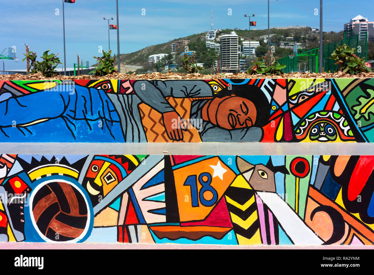 Sports grounds and other facilities decorated with contemporary art at the newly refurbished Ela Beach in Port Moresby. - Stock Image