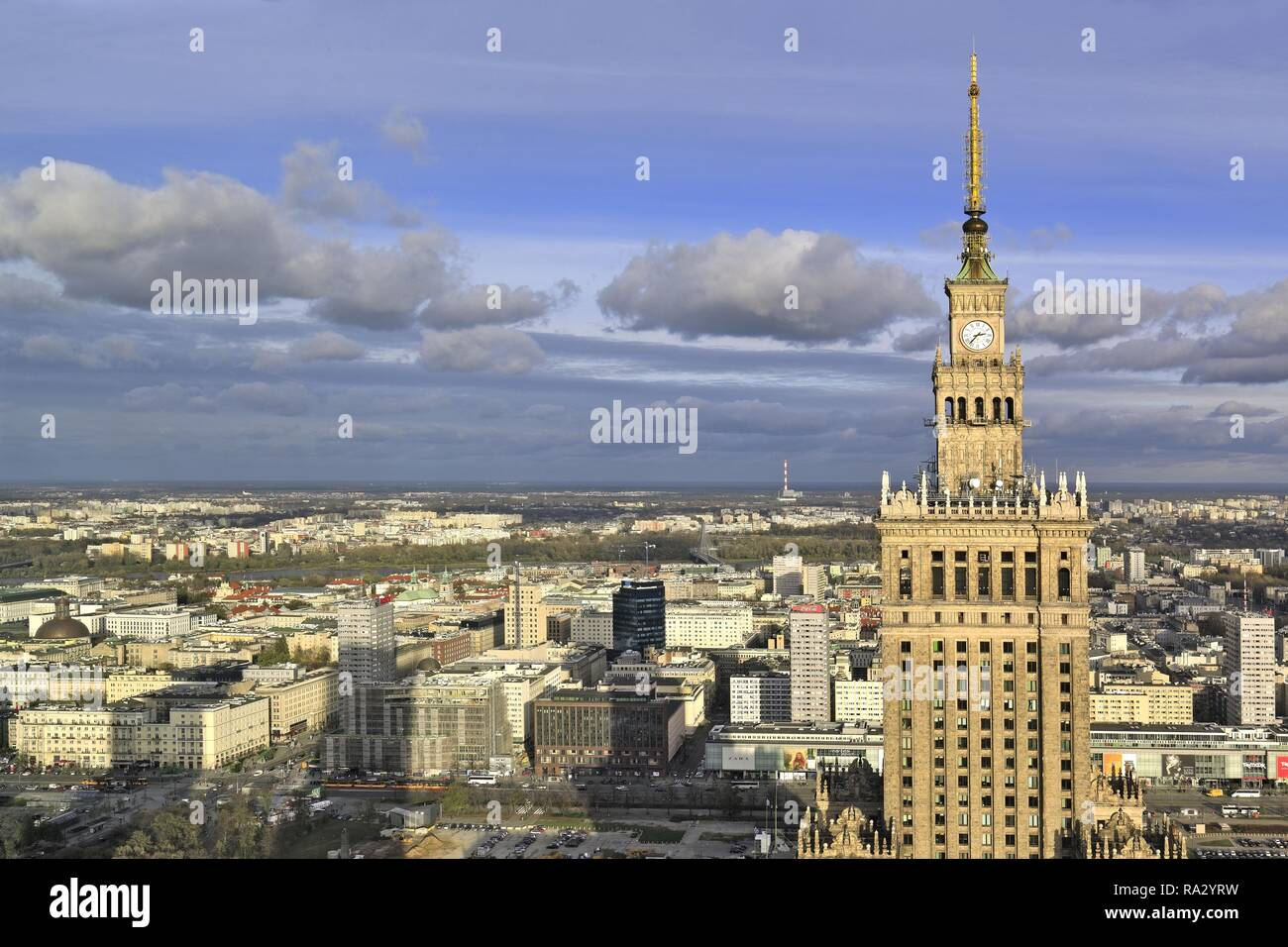 Poland , Mazovia , Warsaw , Center , downtown of Warsaw and the Culture and Science Palace - Stock Image