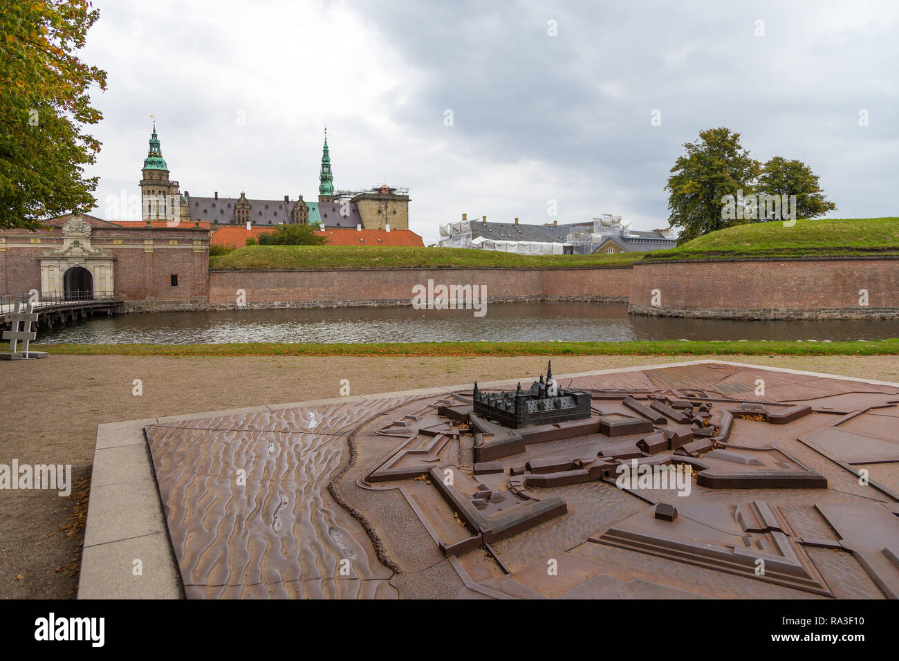 Helsingor, Denmark- 30 August 2014: View of Kronborg palace, defensive walls and model. Kronborg Palace, most important Renaissance palace in Northern - Stock Image