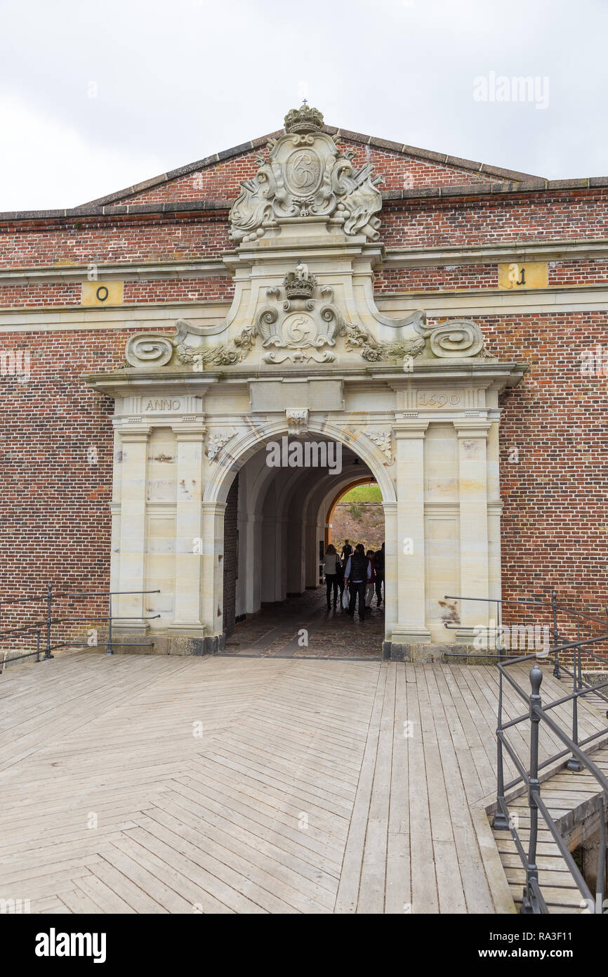 Helsingor, Denmark- 30 August 2014: View of the entrance gate to the Kronborg Palace. Kronborg Palace, most important Renaissance palace in Northern E - Stock Image