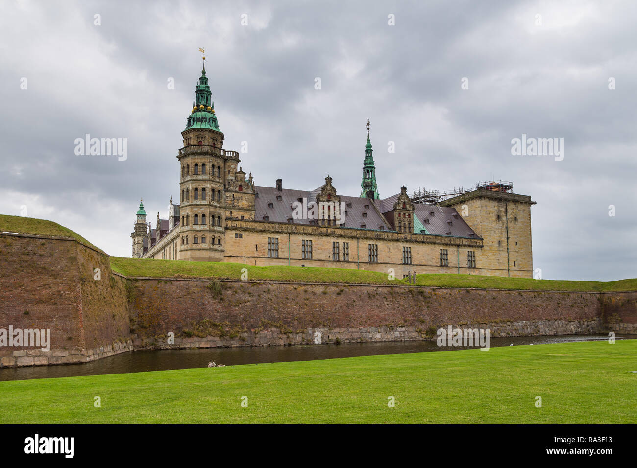 Helsingor, Denmark- 30 August 2014: View of Kronborg palace and defensive walls. Kronborg Palace, most important Renaissance palace in Northern Europe - Stock Image