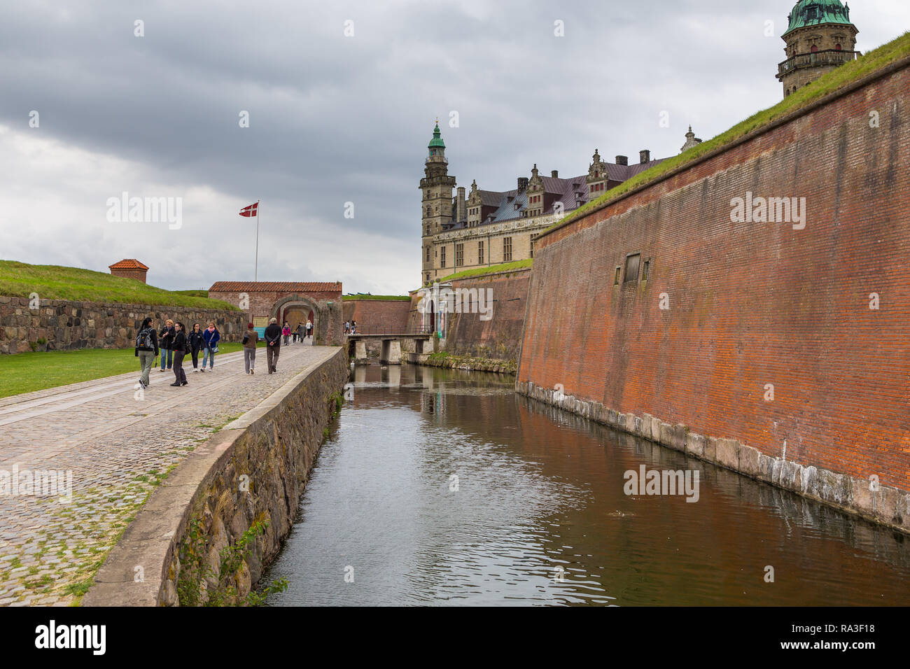 Helsingor, Denmark- 30 August 2014: View of Kronborg palace, defensive walls and fosse. Kronborg Palace, most important Renaissance palace in Northern - Stock Image