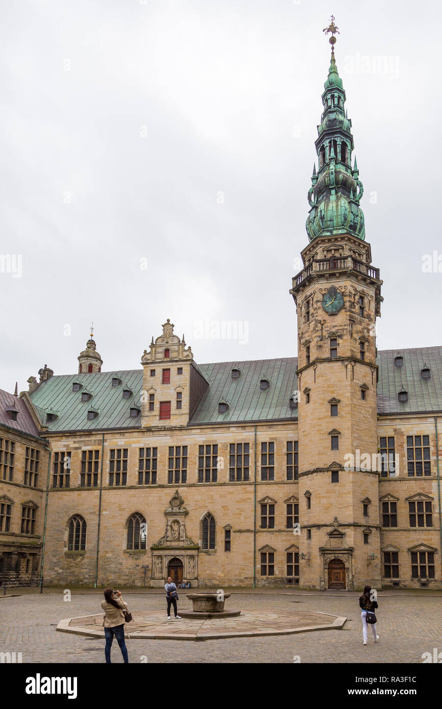 Helsingor, Denmark- 30 August 2014: View of Kronborg palace. Kronborg Palace, most important Renaissance palace in Northern Europe. - Stock Image