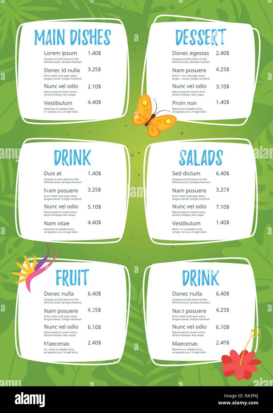 Kids Food Menu Design Template On Green Jungle Rainforest