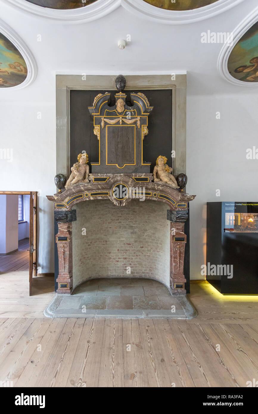 Kronborg, Helsingor, Denmark- 30 August 2014: The King's Chamber in Kronborg Palace. Kronborg Palace, most important Renaissance palace in Northern Eu - Stock Image