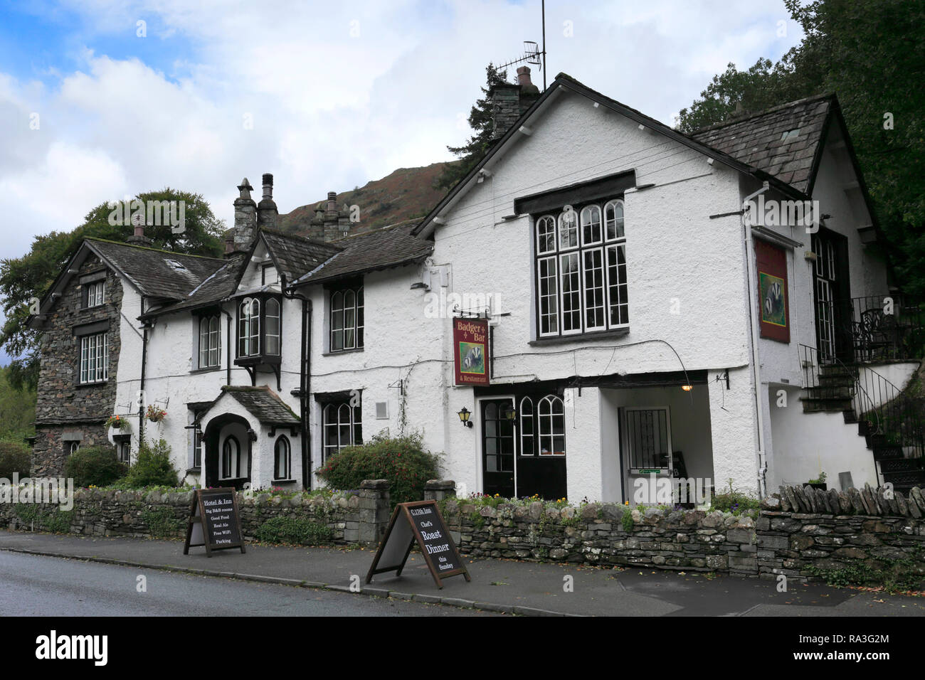 Glen Rothay Hotel and Badger Bar, Rydal village, Lake District National Park, Cumbria, England, UK - Stock Image