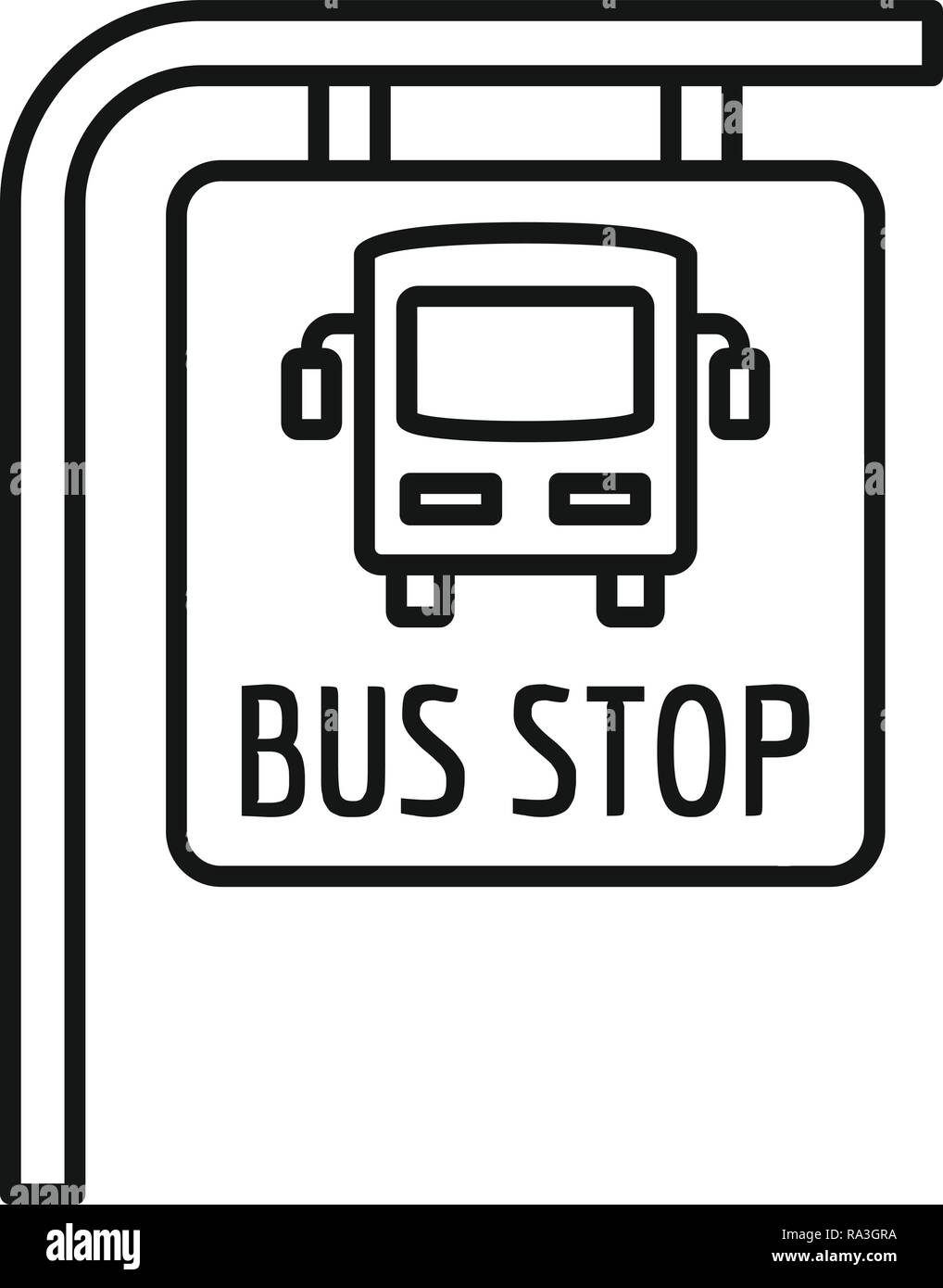 Bus stop sign icon  Outline bus stop sign vector icon for