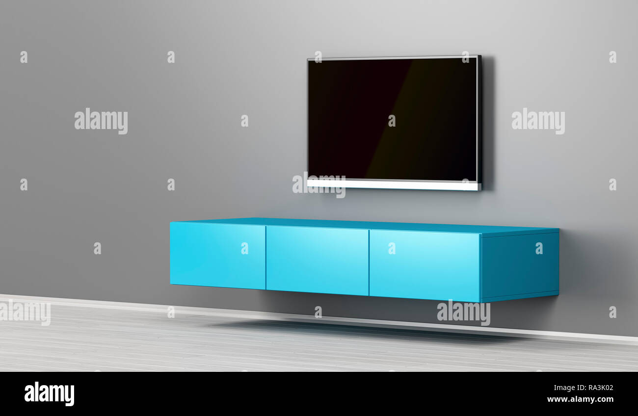Lovely Wall Mounted Tv Cabinet And Big Flat Screen Tv In The Living Room
