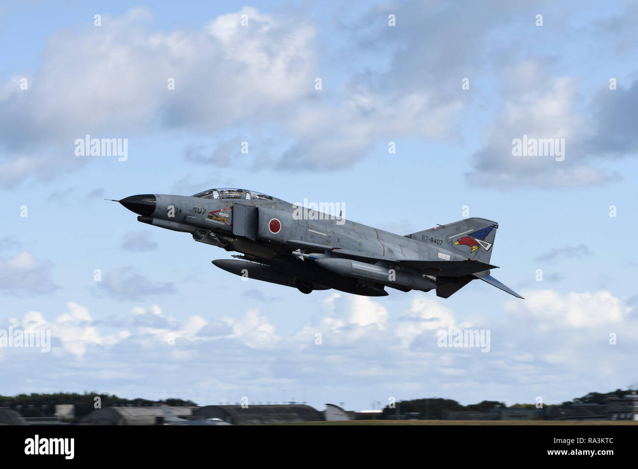 A Japanese Air Self-Defense Force RF-4EJ Phantom II fighter takes off during training exercise Keen Sword at Misawa Air Base November 1, 2018 in Misawa, Japan. - Stock Image