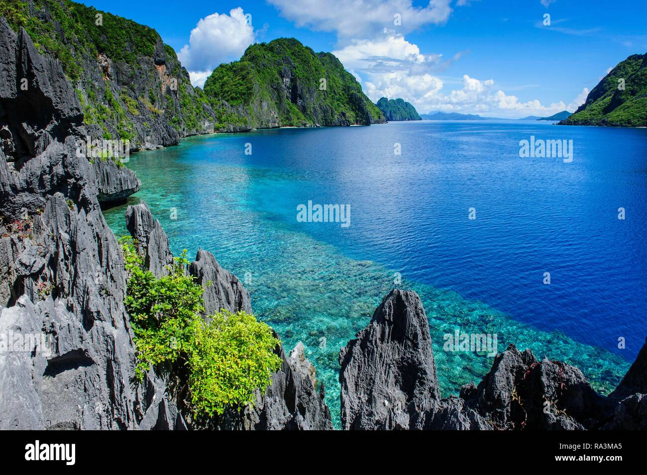 Coast with crystal clear water and limestones, Bacuit archipelago, El Nido, Palawan, Philippines - Stock Image