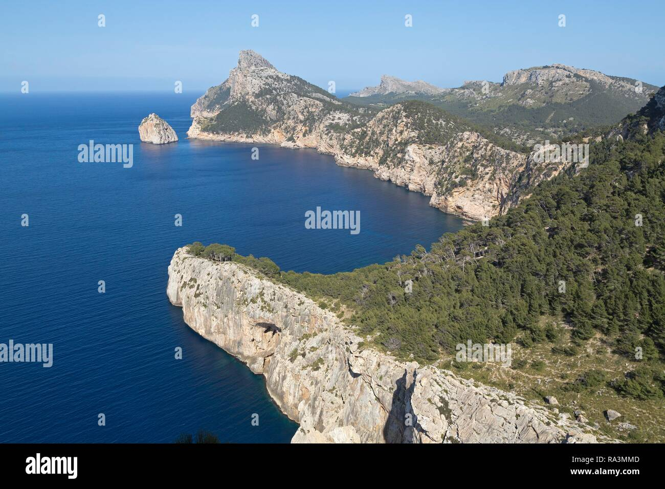View from Mirador d' Es Colomer, also Mirador del Mal Pas on Formentor Peninsula, Majorca, Spain - Stock Image