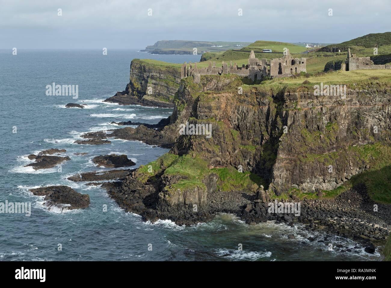 Dunluce Castle on the Atlantic Coast, Portrush, County Antrim, Northern Ireland, United Kingdom - Stock Image