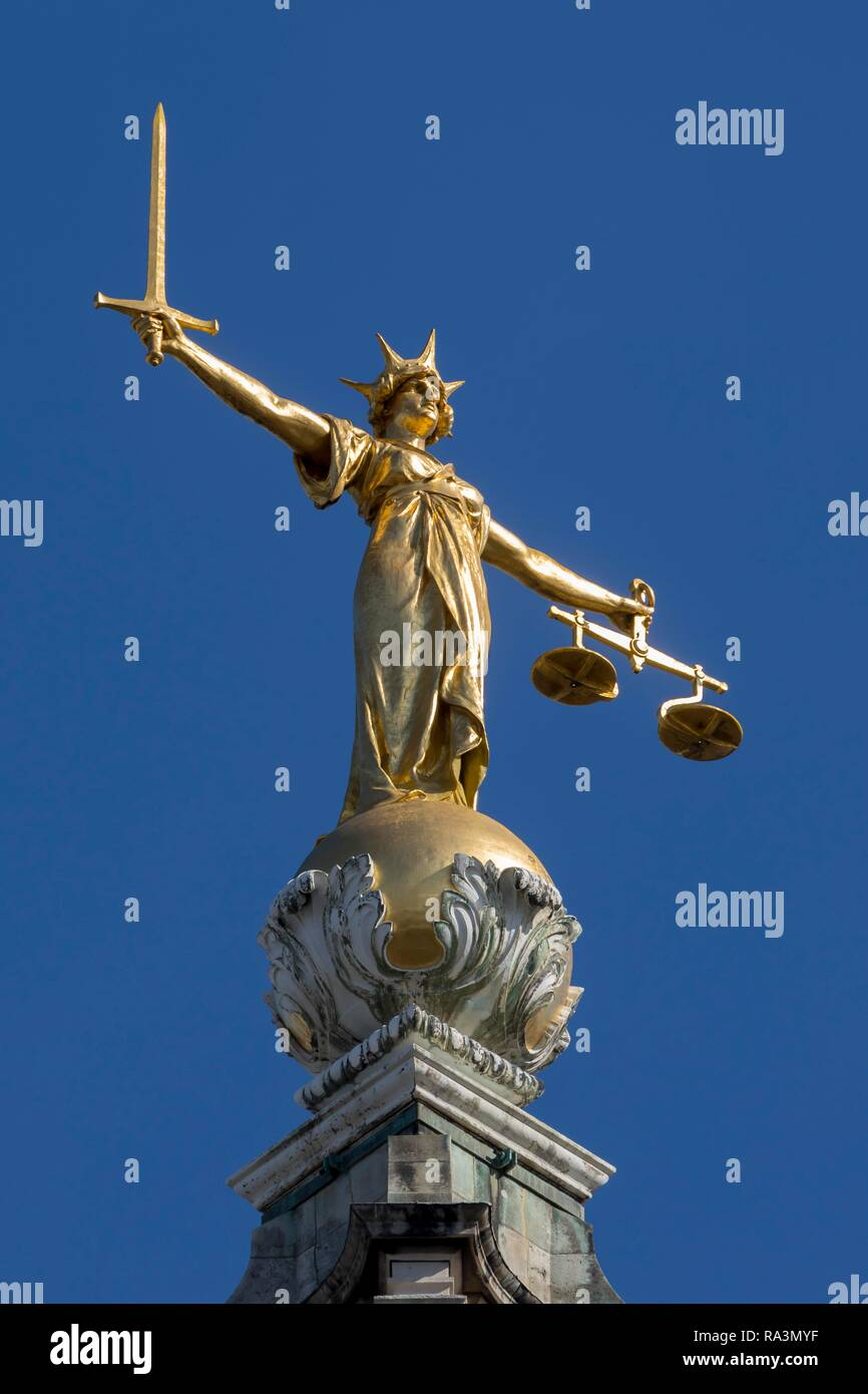 Statue of Justitia at Old Bailey, Central Criminal Court, Central Criminal Court, London, United Kingdom - Stock Image