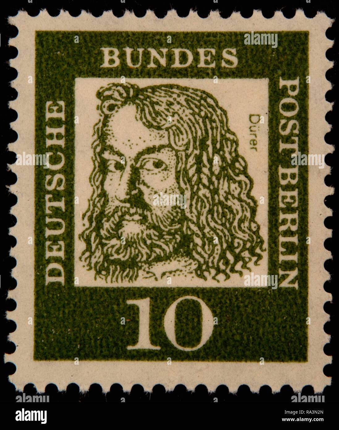 Albrecht Dürer, a German painter, printmaker, and theorist of the German Renaissance, portrait on a German stamp, Germany - Stock Image